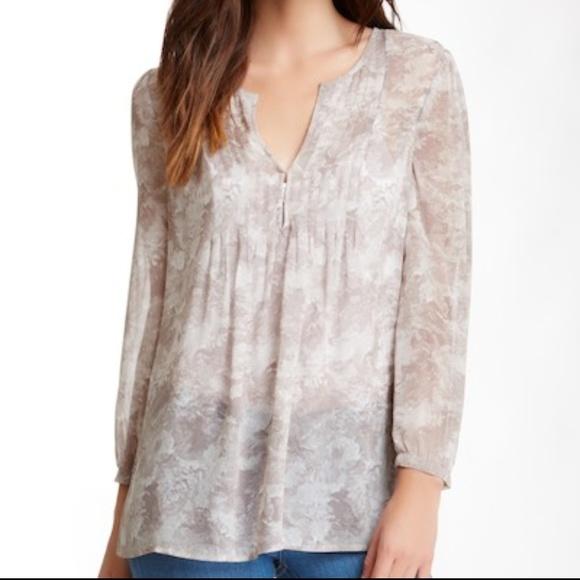 b097135993e2c0 Joie Tops - Joie Carim V-Neck Tan Beige Floral Silk Top Blouse